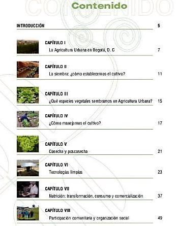 Contenido de Cartillas Técnicas Jardín Botánico de Bogotá